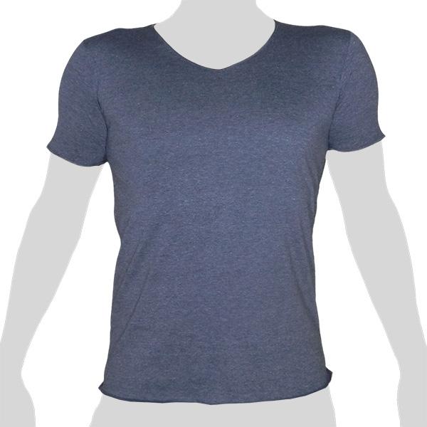 What`s Up - Plain Cotton T-Shirt - V-Neck - mottled grey-blue