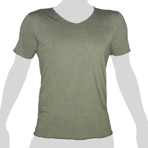 What`s Up - Einfarbiges Baumwoll- T-Shirt - V-Ausschnitt - meliert graugrün