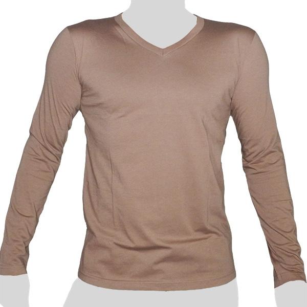 What`s Up - Plain Cotton Longsleeve Shirt - V-Neck - mottled beige