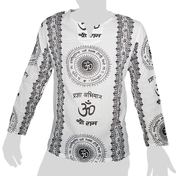 Big Tree - Thin Cotton Longsleeve Shirt - Om & Sanskrit 2 colors - white