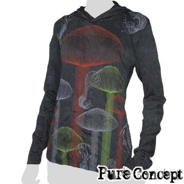 Pure Concept Lady Hoody Longsleeve-Shirt - Magic Mushrooms (anthracite)