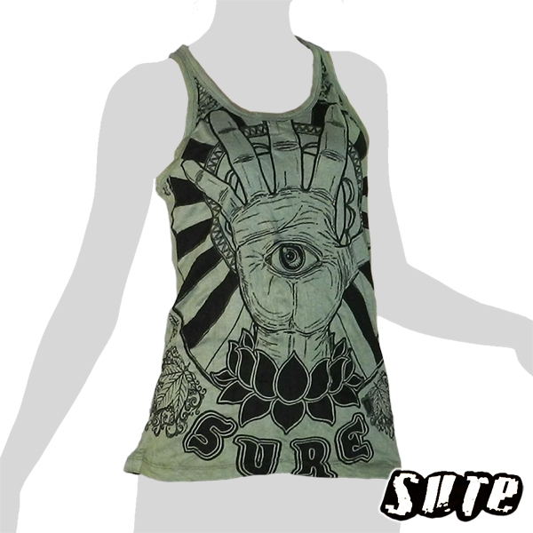 13,79 € the third eye, the sixth sense - spirituality, but also for harmony between the senses ... on a pale mint green wrinkle-fabric tank shirt.