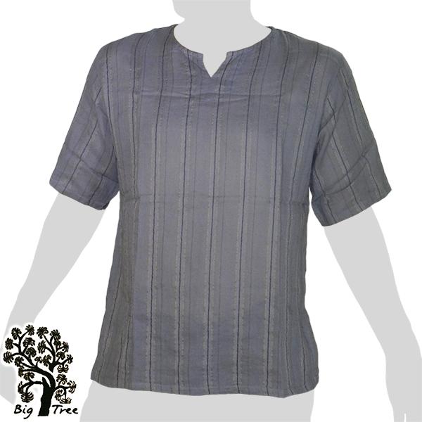 Big Tree - Thin Cotton Short Sleeve Shirt - Woven Stripes - grey