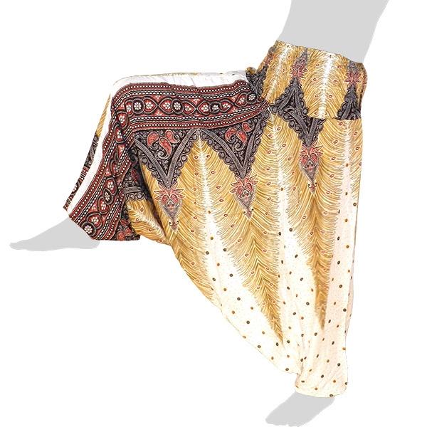 Hilltribe Aladdin Dance Pants Skirt / Dress - Oriental / Peacock Feathers - white