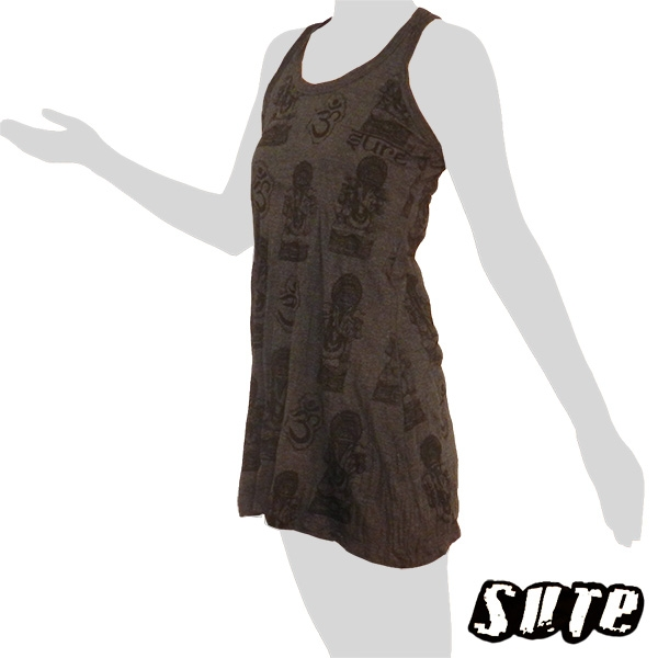 14,79 € Nice and soft anthracite colored Longshirt/Tank-Dress with loads of little Ganeshas on it.