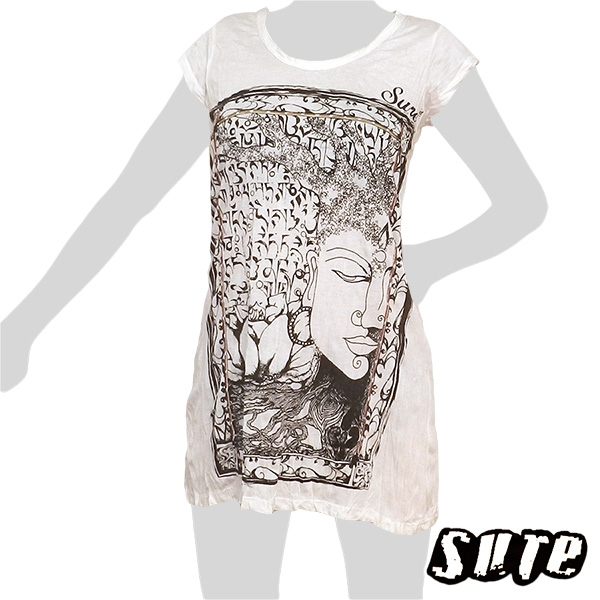15,79 € Very nice motif - Buddha's face in a tree with strong roots and beautiful decorations on a thin summerdress / longshirt.