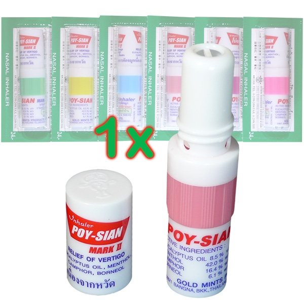 The Poy-Sian Nasal Inhaler provides valuable services with fatigue, looseness, malaise, nausea, dizziness, unpleasant odors, headaches, mild flu symptoms, nasal congestion, itching, insect bites, or even nicotine withdrawal.