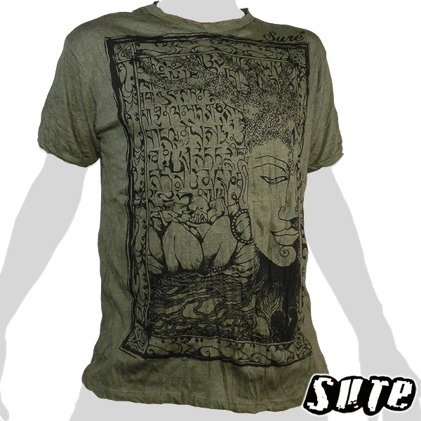 15,99 € Beautiful image of Budda`s Face melted in a tree and Lotus flowers in the background - impalpable print on a beige-coloured shirt 100% cotton