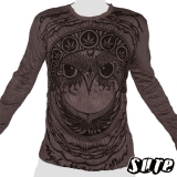 16,29 € Fancy Owlhead staring adamantly embellished with a pattern including cannabis-leaves... Impalpable print in a 100% cton longsleeve shirt.