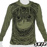17,29 € Fancy Owlhead staring adamantly embellished with a pattern including cannabis-leaves... Impalpable print in a 100% cton longsleeve shirt.