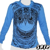 17,29 € Fancy Owlhead staring adamantly embellished with a pattern including cannabis-leaves... Impalpable print on a blue longsleeve 100% cotton.
