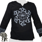 Big Tree - Thin Cotton Longsleeve Shirt - Lotus Flower & Oms - black