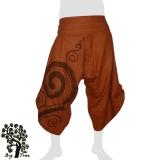 Big Tree - Thai Cotton Pants Half Baggy Samurai Style - earth red-brown
