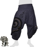 Big Tree - Thai Cotton Pants Half Baggy Samurai Style - dark grey-lilac-blue