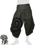 Big Tree - Thai Cotton Pants Half Baggy Samurai Style - dark green-grey