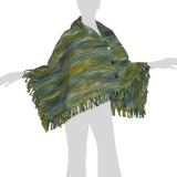 Faithai - Thai Cotton Poncho - Wrap Poncho Scarf - green