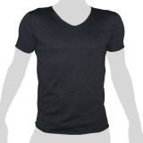 What`s Up - Plain Cotton T-Shirt - V-Neck - mottled anthracite