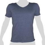 What`s Up - Plain Cotton T-Shirt - V-Neck - mottled grey-blue