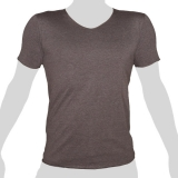 What`s Up - Plain Cotton T-Shirt - V-Neck - mottled brown-grey