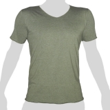 What`s Up - Plain Cotton T-Shirt - V-Neck - mottled grey-green