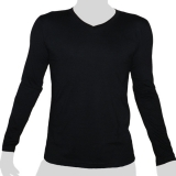 What`s Up - Plain Cotton Longsleeve Shirt - V-Neck - (mottled) black