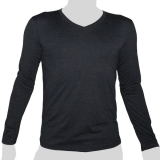 What`s Up - Plain Cotton Longsleeve Shirt - V-Neck - mottled anthracite