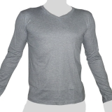 What`s Up - Plain Cotton Longsleeve Shirt - V-Neck - mottled light grey