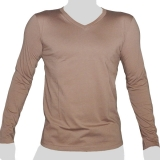 What`s Up - Plain Cotton Longsleeve Shirt - V-Neck - mottled beige