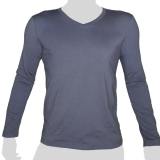 What`s Up - Plain Cotton Longsleeve Shirt - V-Neck - mottled blue grey