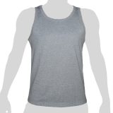 What`s Up - Plain Cotton Tank Shirt - mottled light grey