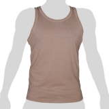 What`s Up - Plain Cotton Tank Shirt - mottled beige