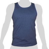 What`s Up - Plain Cotton Tank Shirt - mottled grey blue