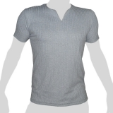 What`s Up - Plain Cotton T-Shirt Vertical Webs - V-Slit Neck - light grey