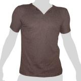 What`s Up - Plain Cotton T-Shirt Vertical Webs - V-Slit Neck - dark brown