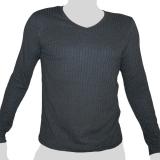 What`s Up - Einfarbiges Langärmliges Baumwoll-Shirt Vertikal Gewebt - V-Ausschnitt - dunkelgrau