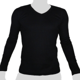 What`s Up - Plain Cotton Longsleeve Shirt Vertical Webs - V-Neck - black