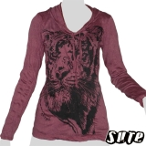 16,29 € Terrific tiger head on a wine red longsleeve-hoody shirt.