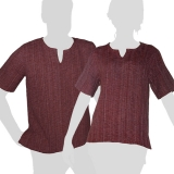 Dark red colored soft and comfortable short-sleeved shirt made of 100 % chunky cotton. This is no factory product, in fact these shirts are handmade.