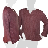 Dark red colored soft and comfortable long-sleeved shirt made of 100 % chunky cotton. This is no factory product, in fact these shirts are handmade!