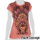 Pure Concept Lady Shirt - Fantasy Peacock Birdy (salmon red)