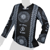Big Tree - Thin Cotton Longsleeve Shirt - Om & Sanskrit 2 colors - black