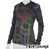 Pure Concept Lady Hoody Longsleeve-Shirt - Magic Mushrooms (anthracite)