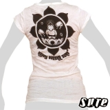 13,79 € Very nice, white tank shirt with a cute delighted happy Buddha and rainy clouds and bees ...