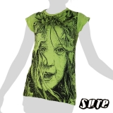 13,79 € A wild girl`s face beautifully with leaves in the hair like a jungle girl (Tarzane?)... On a dark grey knitter-fabric shirt.