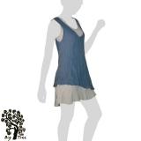 Big Tree - Thai Cotton Double Layer Short Dress - blue