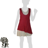 Big Tree - Thai Cotton Double Layer Short Dress - red