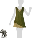 Big Tree - Thai Cotton Double Layer Short Dress - olive green