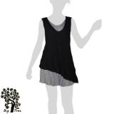 Big Tree - Thai Cotton Double Layer Short Dress - black
