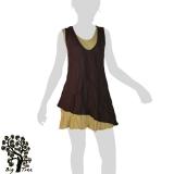 Big Tree - Thai Cotton Double Layer Short Dress - brown / wheat