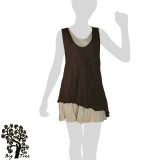 Big Tree - Thai Cotton Double Layer Short Dress - brown / nude